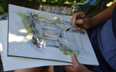 Dimostrazione di pittura a Campagnano (VA) 2016
