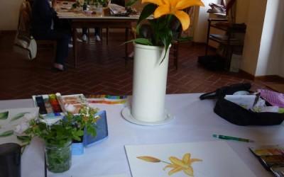 Lezione di pittura botania a Ziano Piacentino